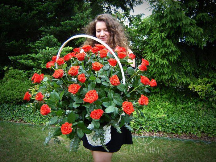 Kosz czerwonych róż 1