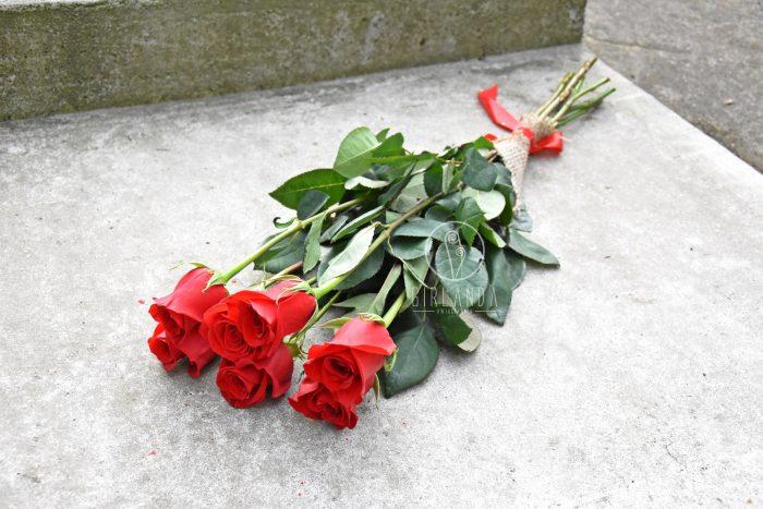 Róże cukrowe ze wstążką z kwiaciarni Girlanda Białystok