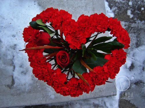 Duże serce w kształcie bukietu z kwiaciarni internetowej Białystok