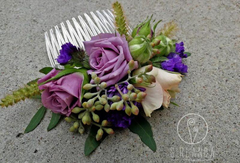 Przykładowe kwiaty we włosach panny młodej Białystok