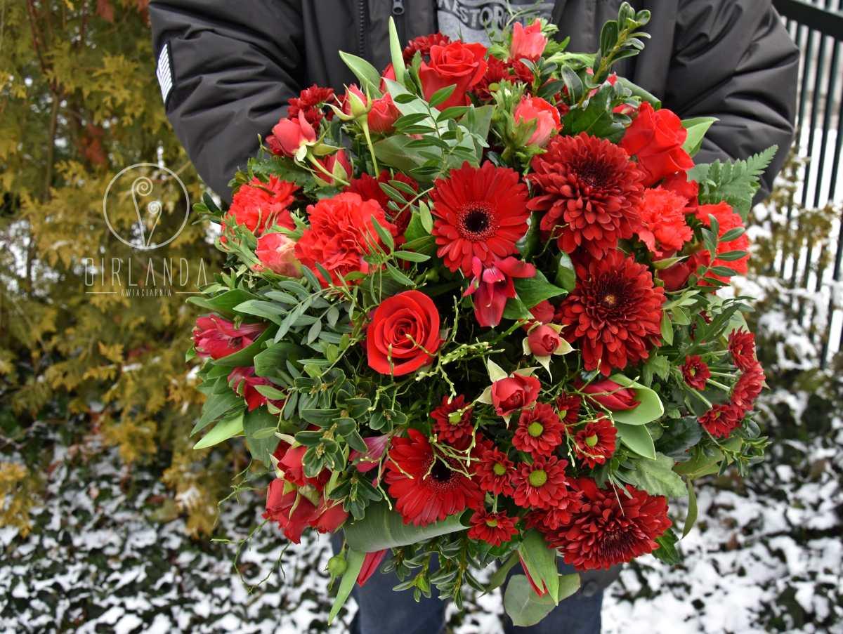 Duży, czerwony bukiet kwiatów idealny dla Dziewczyny, Narzeczonej, Żony