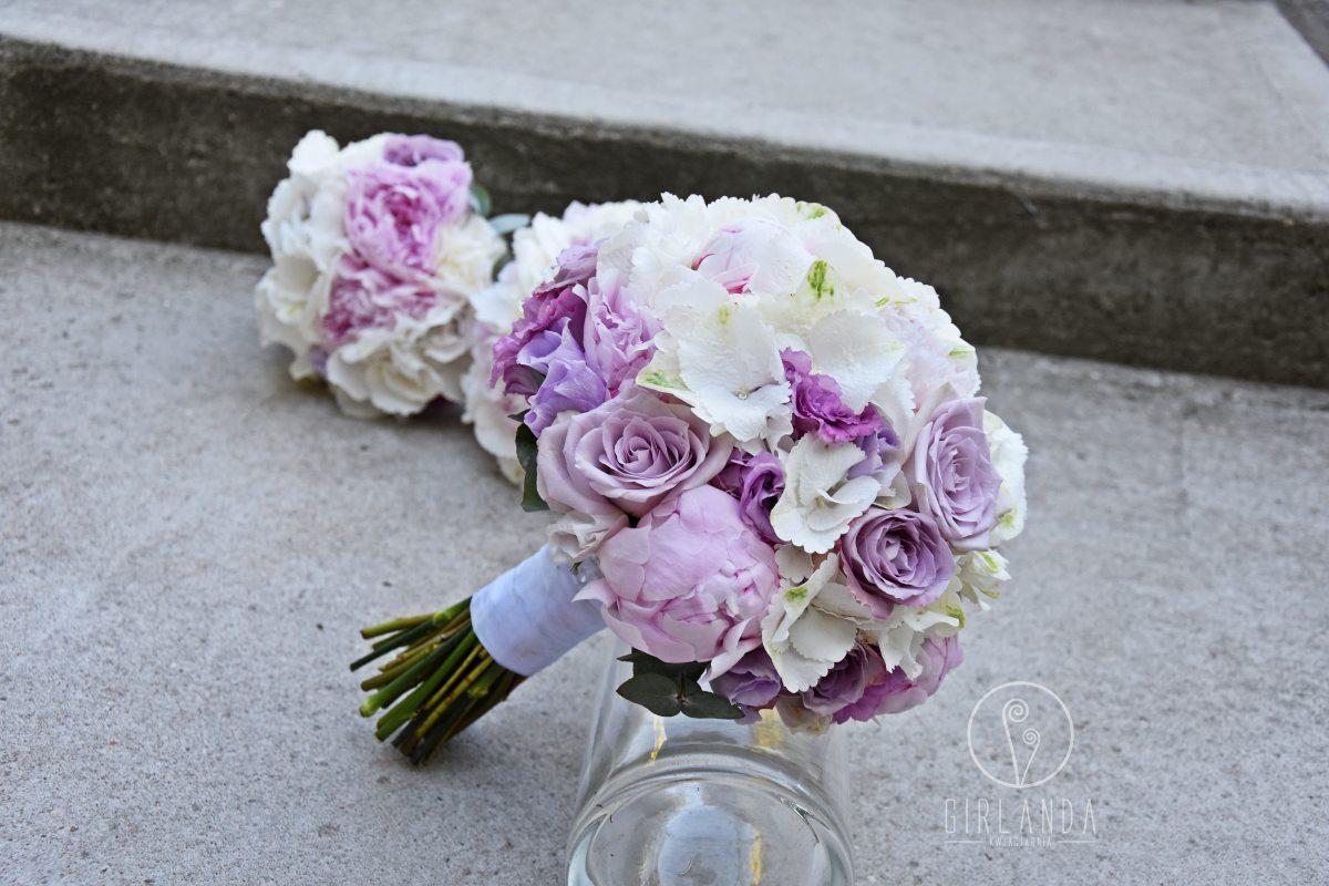 Pastelowy, fioletowy bukiet ślubny