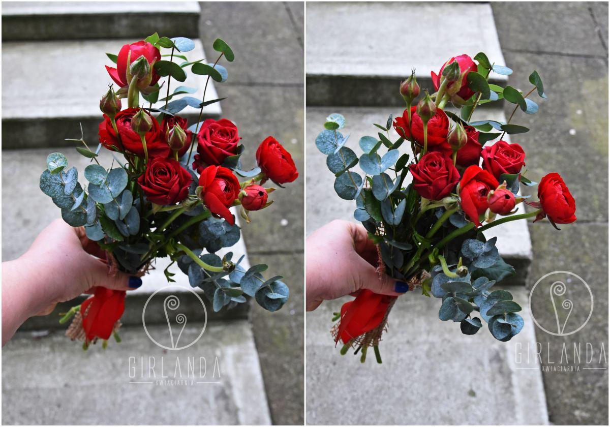 Mały, walentynkowy bukiet kwiatów