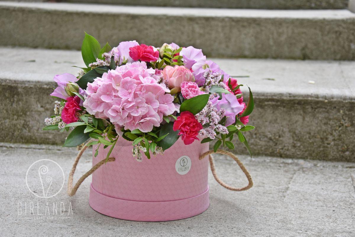 Różowy, romantyczny flowerbox